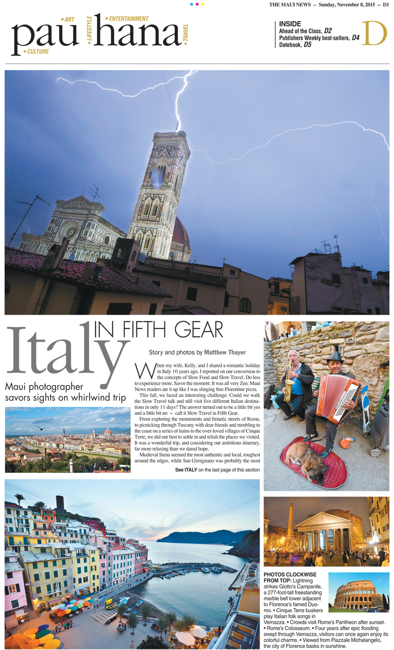 2015 - Italy Story - Matthew Thayer - Maui News - Feel Good